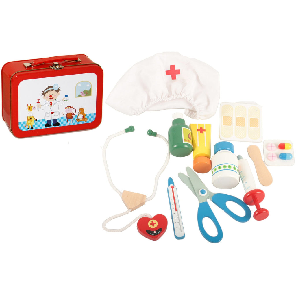 Doctor's medicine kit toy in metal suitcase