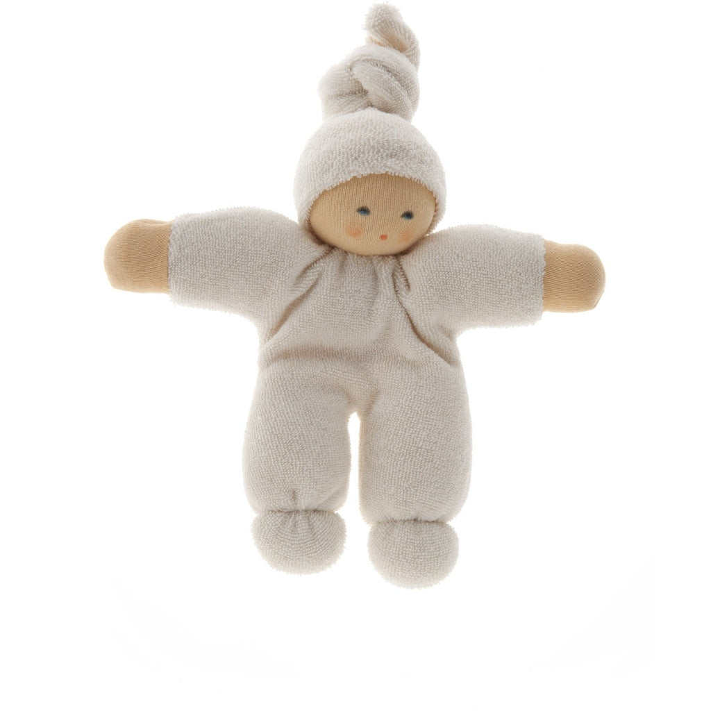 Organic white pimpel waldorf doll hand made using pure organic cotton.