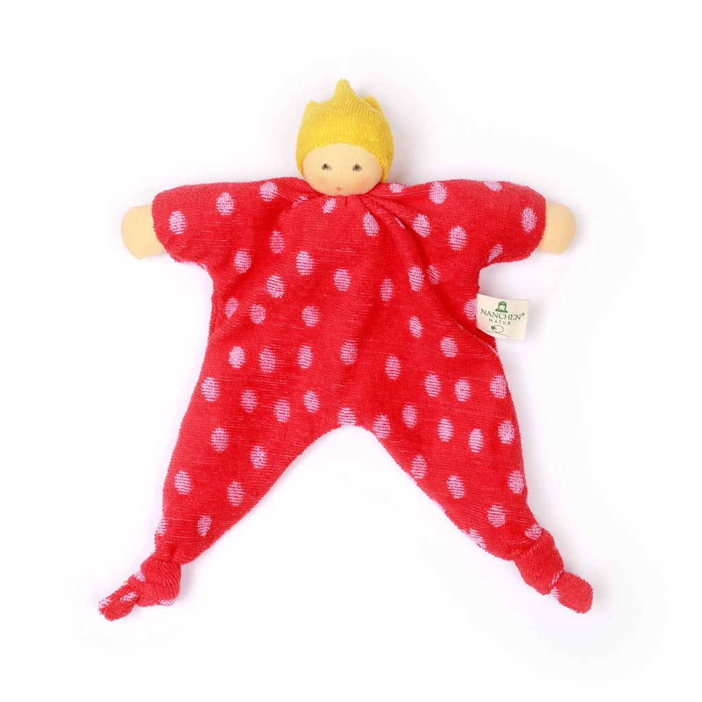 Red punk prince/princess baby comforter made from organic terry towelling