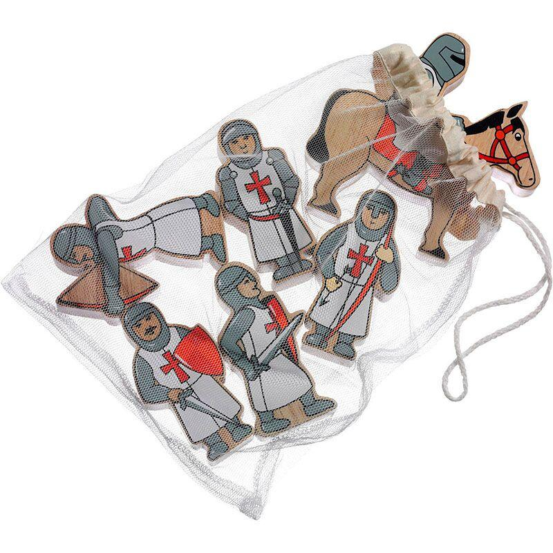 Set of red wooden knights