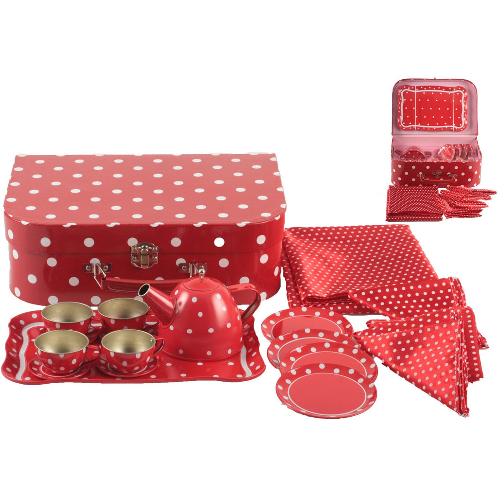 Retro-style polka dot tin tea set in case