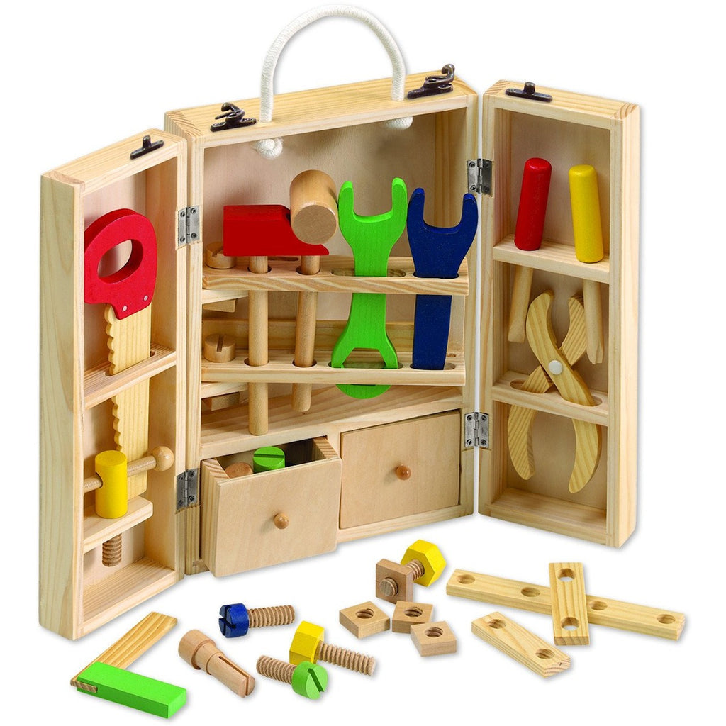 Wooden toy carpenter tool set in sturdy wooden cabinet