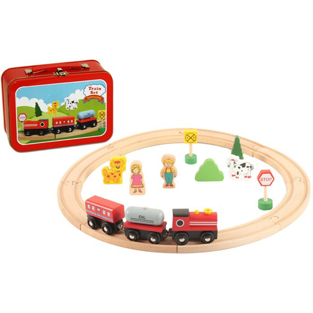 Small wooden train set in metal case