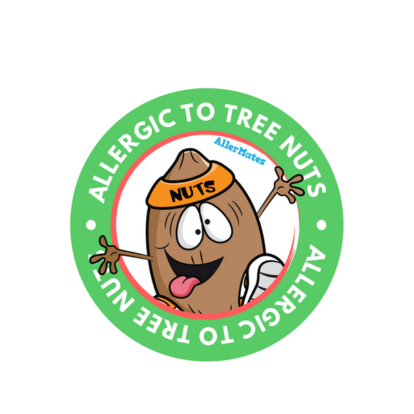 AllerMates Tree Nut Allergy Warning Label Stickers for Kids