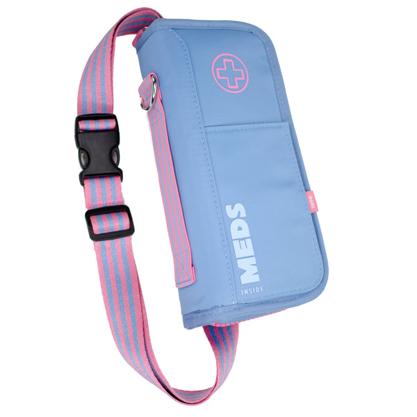 """GRACE"" Blue/Pink Medicine EpiPen Case Carrier: Includes Ice Pack, Belt,Travel Size Bottle ++"