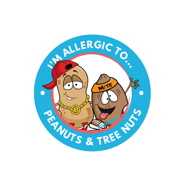 AllerMates Peanut and Tree Nut Allergy Warning Label Stickers for Kids