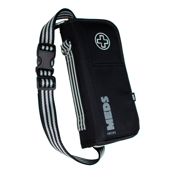"""Jet"" Black Medicine EpiPen Case Carrier: with Ice Pack, Belt,Travel-Size Bottle"