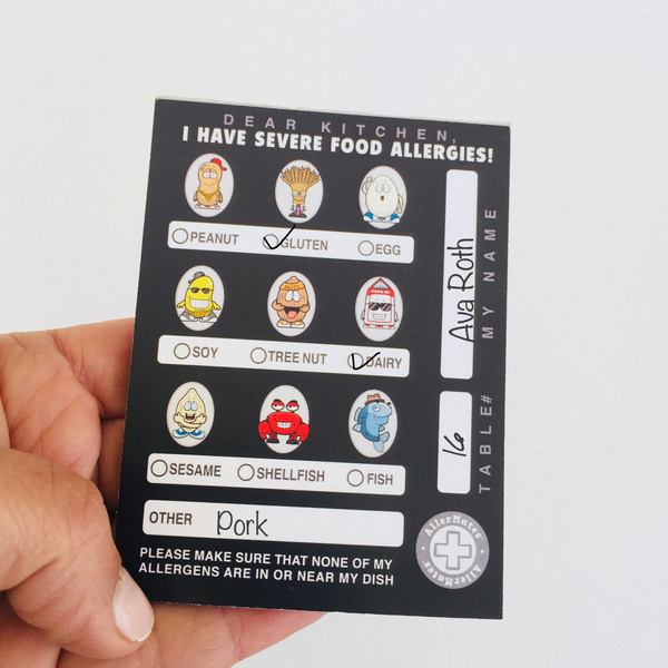 AllerMates Food Allergies Restaurant Notes Chef card Pack of 50