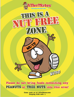 "Nut Free Zone School Allergy Safety Poster sz 18 x 24""/ Laminated/ PACK OF 2 POSTERS"