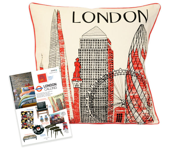 Cityscape London cushion with red print as featured in Cambridge Magazine