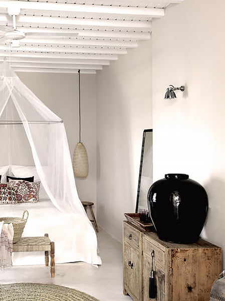 Romantic white voile bed canopy
