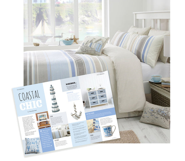 Nautical style duvet set with blue, white and grey stripes. As featured in Suffolk Norfolk Life Magazine