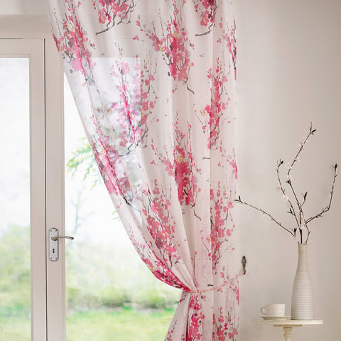 Fuschia floral voile panel
