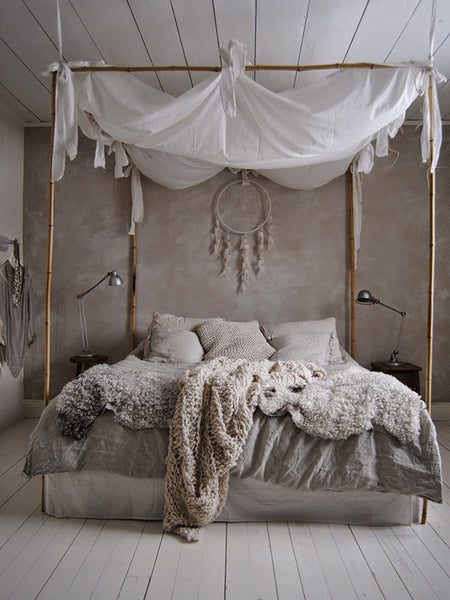 DIY bed canopy on bamboo sticks