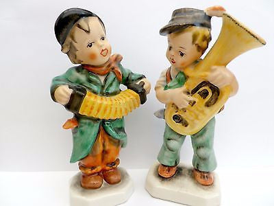 2 German Friedel musician figurines,tuba & squeezebox players - Taingtiques - 1