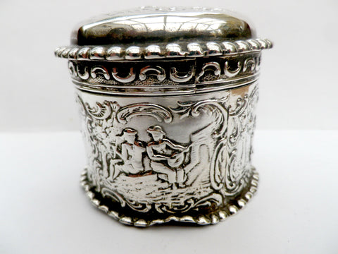 Dutch silver trinket box, embossed  rural scenes, SBL imported 1892 - Taingtiques - 1