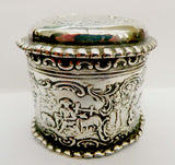 Dutch silver trinket box, embossed  rural scenes, SBL imported 1892 - Taingtiques - 2