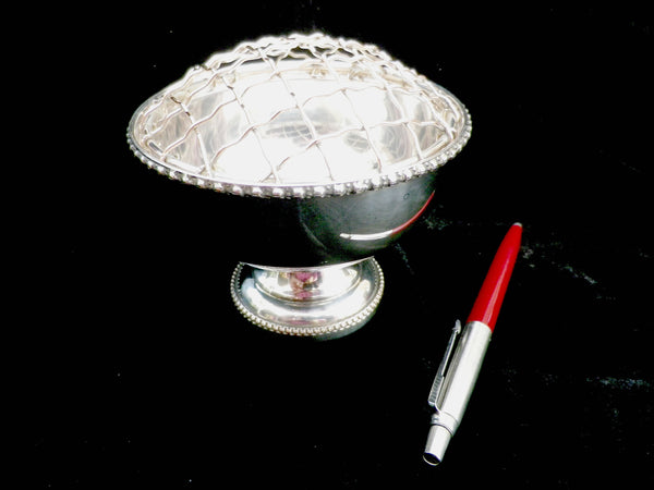 Silver plated rose bowl, small posy bowl , pedestal base and grille, copper base, Pinder Bros Ltd - Taingtiques - 1