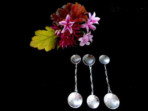 3 silver coin spoons, Turkish silver kurus, condiment spoons - Taingtiques - 1