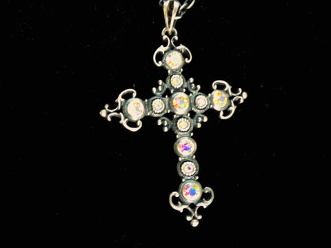Large pewter and crystal crucifix pendant, Goth jewellery - Taingtiques - 1