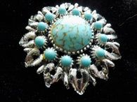 Floral design vintage brooch, chrome and turquoise, cabochon stone - Taingtiques - 1