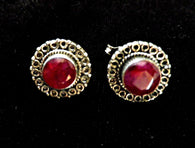925 marked ruby earrings, faceted gemstones, Celtic style - Taingtiques - 1