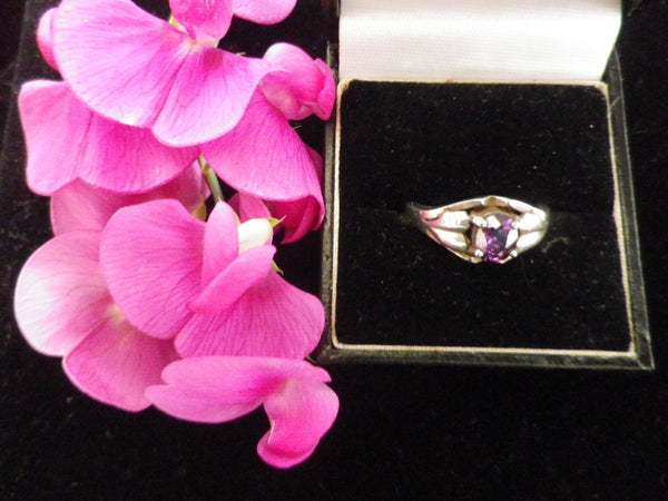 925 marked CZ ring, oval faceted, purple stone, cubic zircona - Taingtiques - 1