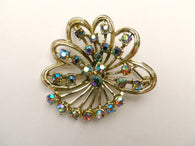 Exquisite aurora borealis crystal brooch, leaf design signed jewellery - Taingtiques - 1