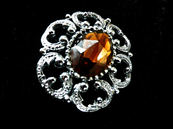 Art Nouveau style cognac glass brooch in chrome frame - Taingtiques - 1