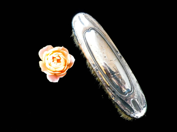 Sterling silver backed clothes brush, art deco style, natural bristle - Taingtiques - 1