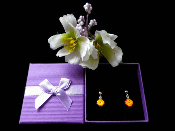 925 silver earrings, small orange enamel flowers, gift boxed - Taingtiques - 1