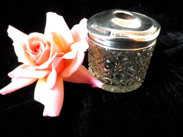 Hair tidy jar, dressing table pot or vanity jar, sterling silver lid - Taingtiques - 1