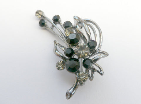 Silver tone flower brooch,  black and white rhinestones, gift box - Taingtiques - 1