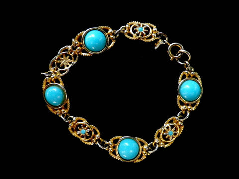 Turqoise effect antique style bracelet, Sarah Coventry, gold tone - Taingtiques - 1