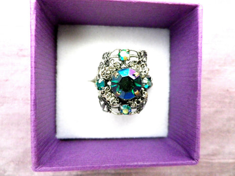Crystal dress ring, aurora borealis, Victorian style, adjustable - Taingtiques - 1