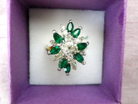 Green and white cluster ring, crystal faceted stones,  large size S - Taingtiques - 1