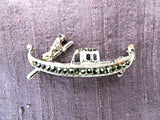 800 silver and marcasite gondola brooch, gondolier, gift  box - Taingtiques - 3