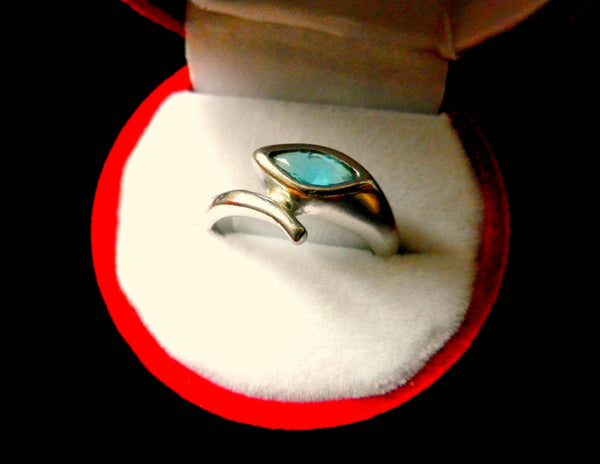 925 silver ring with blue faceted stone, snake effect wraparound style - Taingtiques - 1