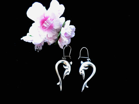 925 silver large dolphin drop earrings, closed wire hooks, gift boxed - Taingtiques - 1