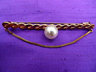 Faux pearl large bar brooch, rose gold tone, chain decoration - Taingtiques - 1