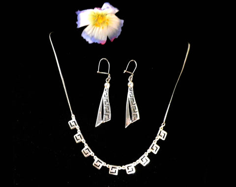 925 silver necklace, matching drop earrings, Greek Key design - Taingtiques - 1