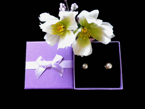 Cultured pearl and 925 silver clip on stud earrings, presentation box - Taingtiques - 1
