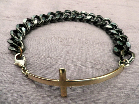 Boho Goth style chain bracelet, grey metal chain with gold tone cross