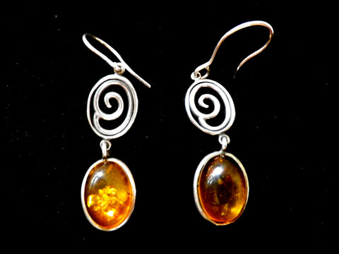 Amber drop earrings in 925 silver,  hook fittings, gift boxed - Taingtiques - 1