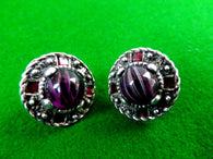 Antique style silver plated earrings, purple cabochon, red rhinestone - Taingtiques - 1