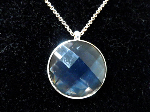 Blue crystal pendant, diamond faceted round stone, long chain - Taingtiques - 1