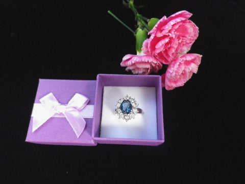 Blue and white cluster ring, crystal faceted stones, large size S - Taingtiques - 1