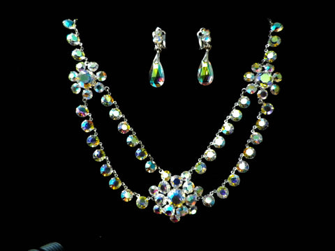 Crystal necklace and earrings set, bridal jewelry,  aurora borealis - Taingtiques - 1