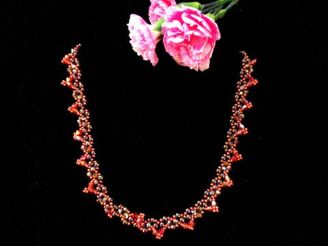 Coral coloured crystal necklace, sparkly brown beads, T bar clasp - Taingtiques - 1