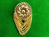 Chain brooch pin, embossed flower centre,  Art Nouveau style - Taingtiques - 2